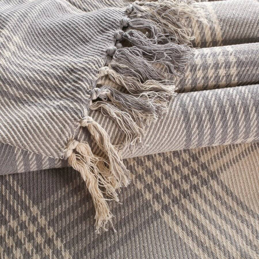 Premium Reversible XL Cotton Tartan Throw For Sofa/Armchair - Grey