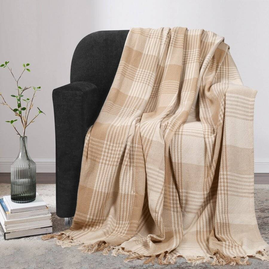EHC Reversible Large Cotton Tartan Throw For Sofa or Armchair - Beige