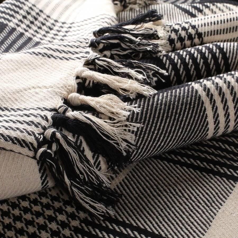EHC Reversible Large Cotton Tartan Throw For Sofa or Armchair - Black