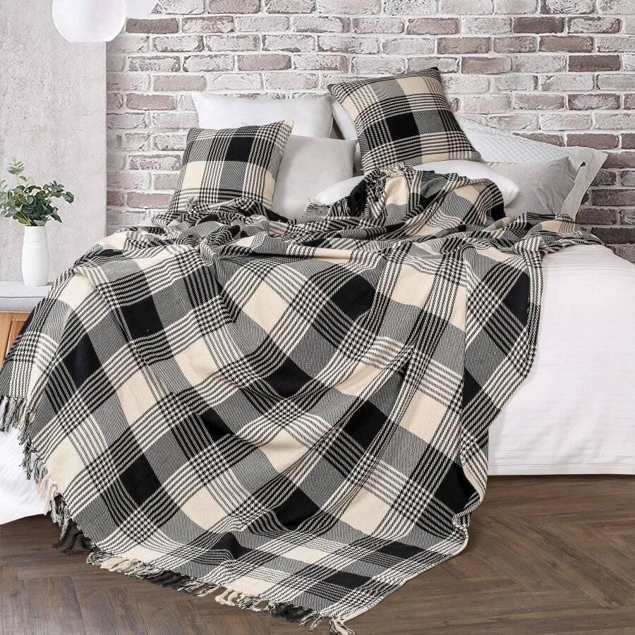 Premium Reversible Super King Cotton Tartan Throw for Sofa/Armchair-Black