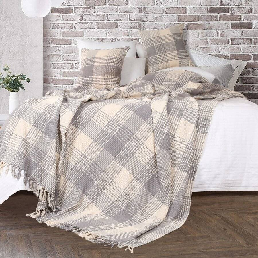 EHC Reversible Super King Cotton Tartan Throw For Sofa/Armchair - Grey