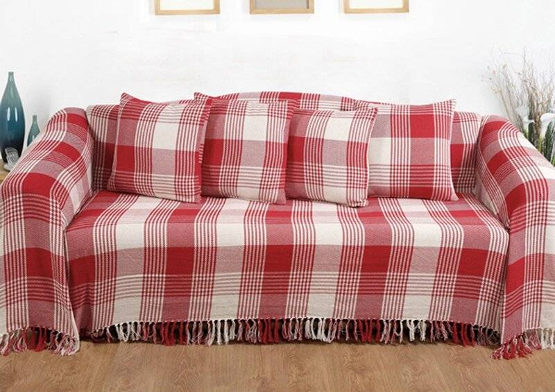 EHC Reversible Super King Cotton Tartan Throw For Sofa/Armchair - Red