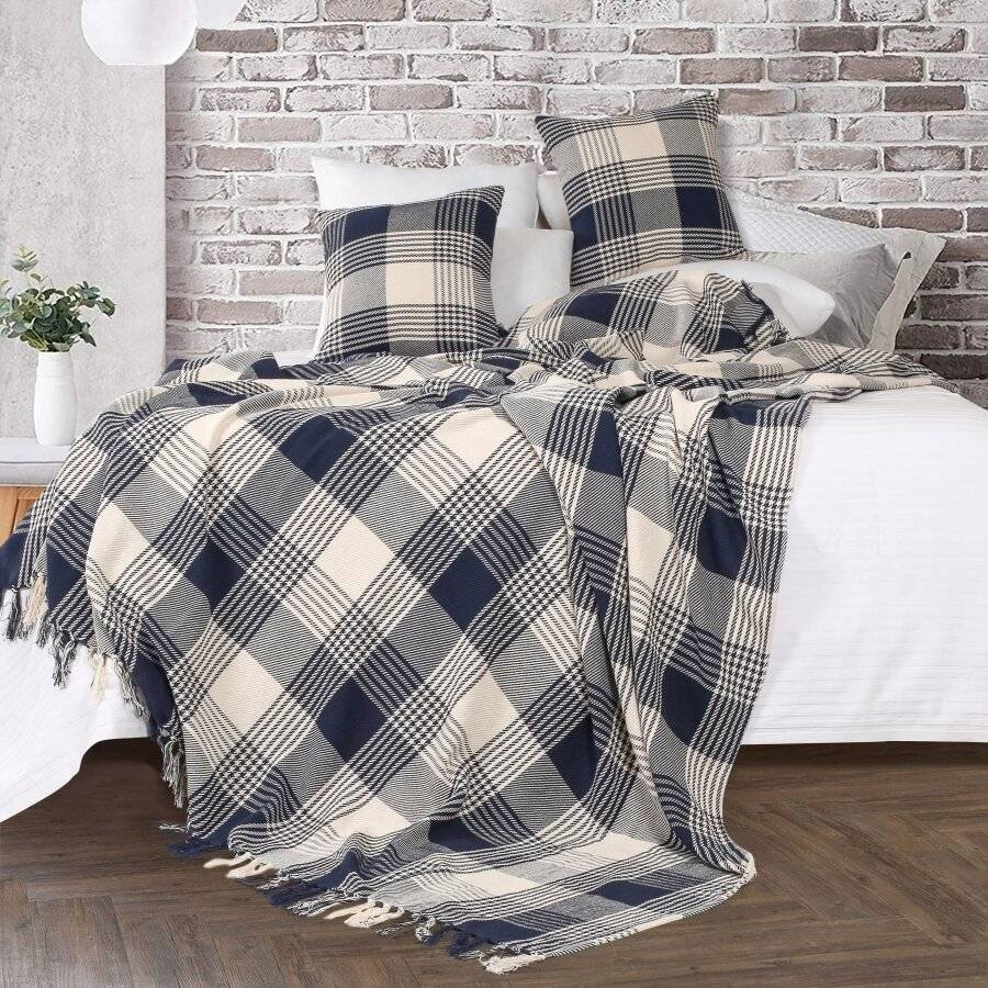 Premium Reversible Super King Cotton Tartan Throw Sofa/Armchair-Navy Blue