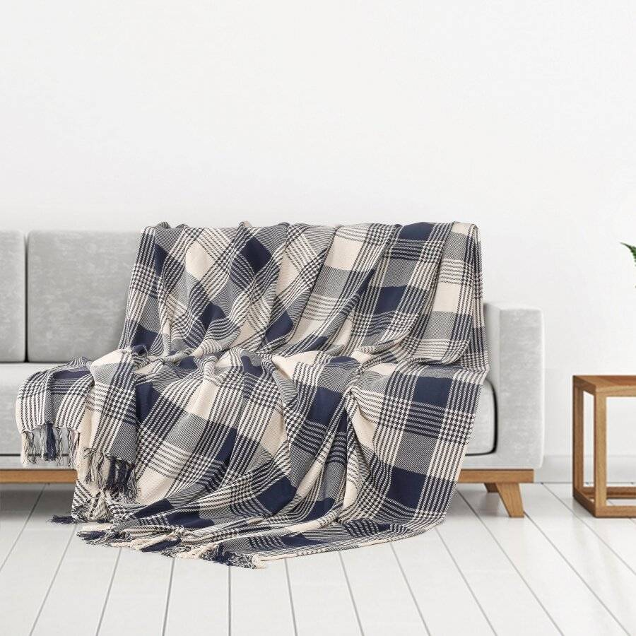 Reversible Super King Cotton Tartan Throw For Sofa/Armchair, Navy Blue