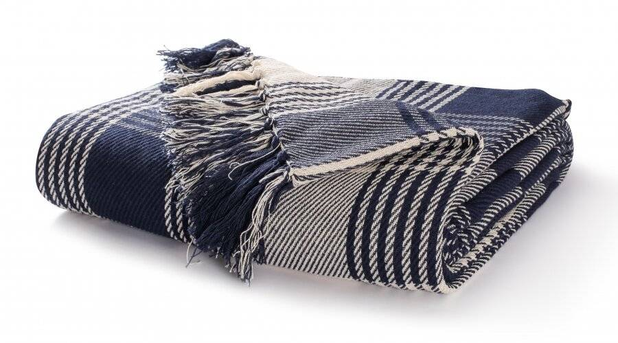 Cotton Tartan Throw Sofa-Armchair-Navy Blue|Elite Housewares