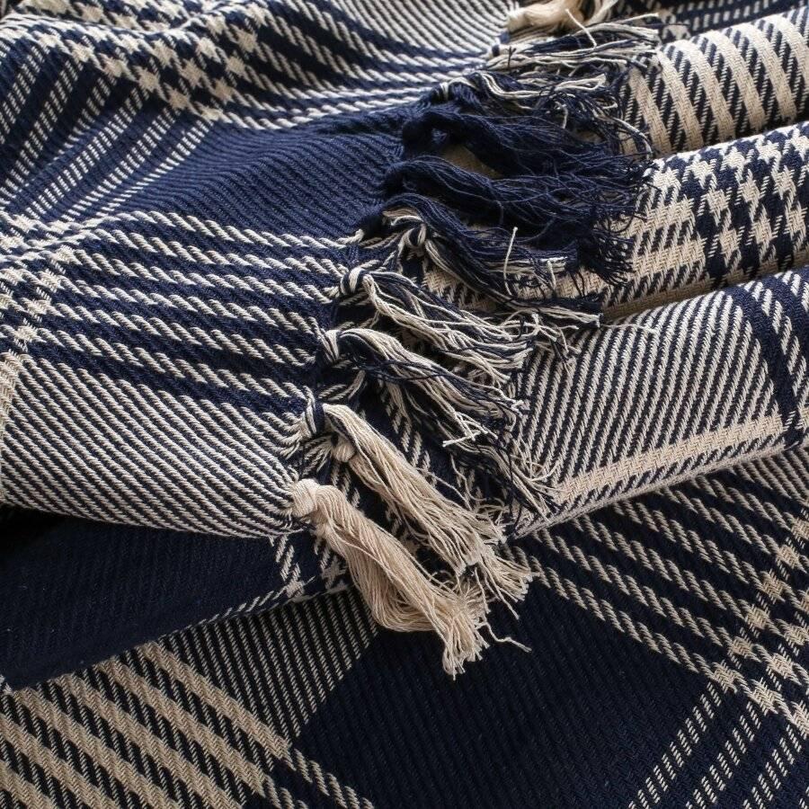 Reversible Super King Cotton Tartan Throw For Sofa/Armchair, Navy Blue