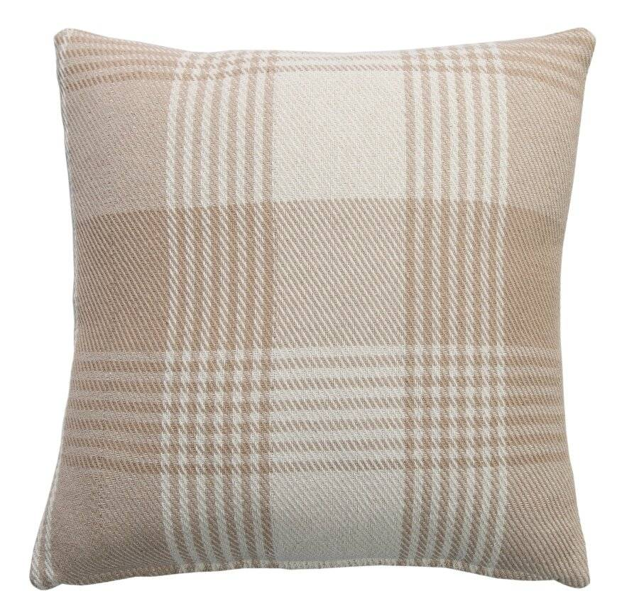 Premium Tartan Cotton Cushion Cover- Beige (45cm x 45cm)