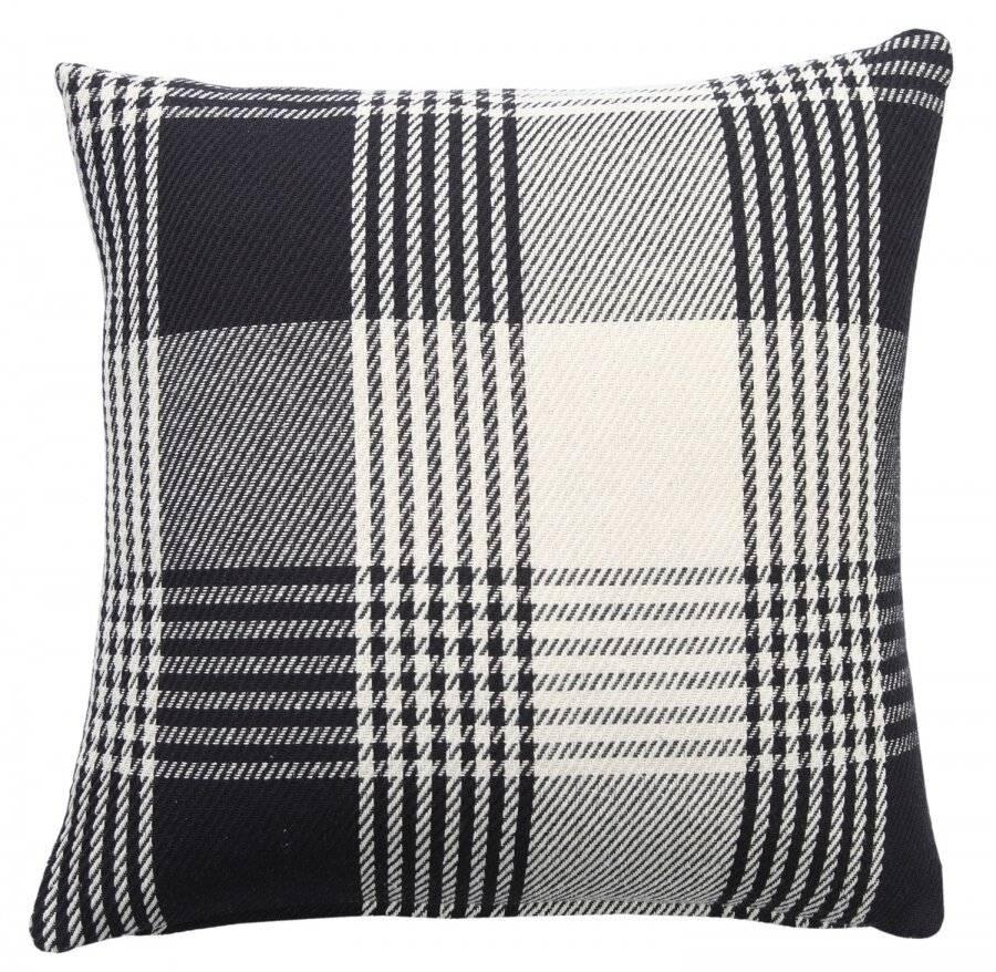 Premium Tartan Cotton Cushion Cover- Black (45cm x 45cm)
