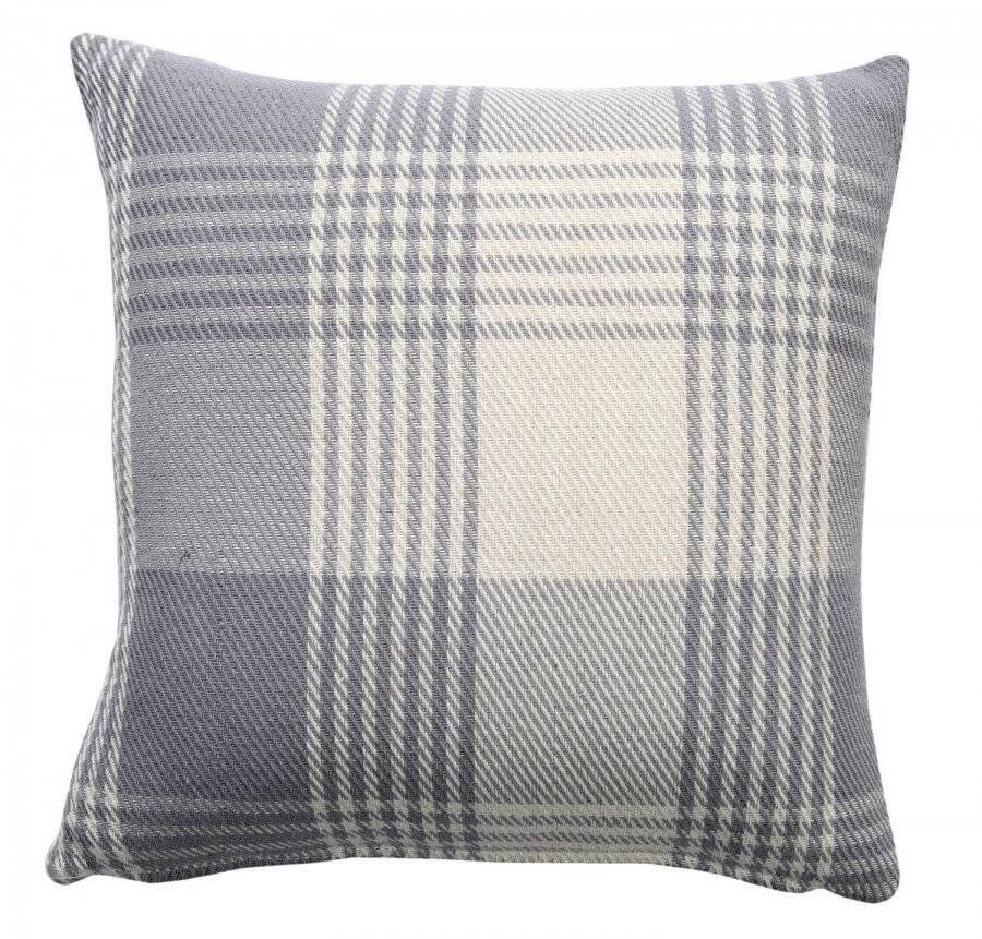 Premium Tartan Cotton Cushion Cover - Grey (45 cm x 45 cm)