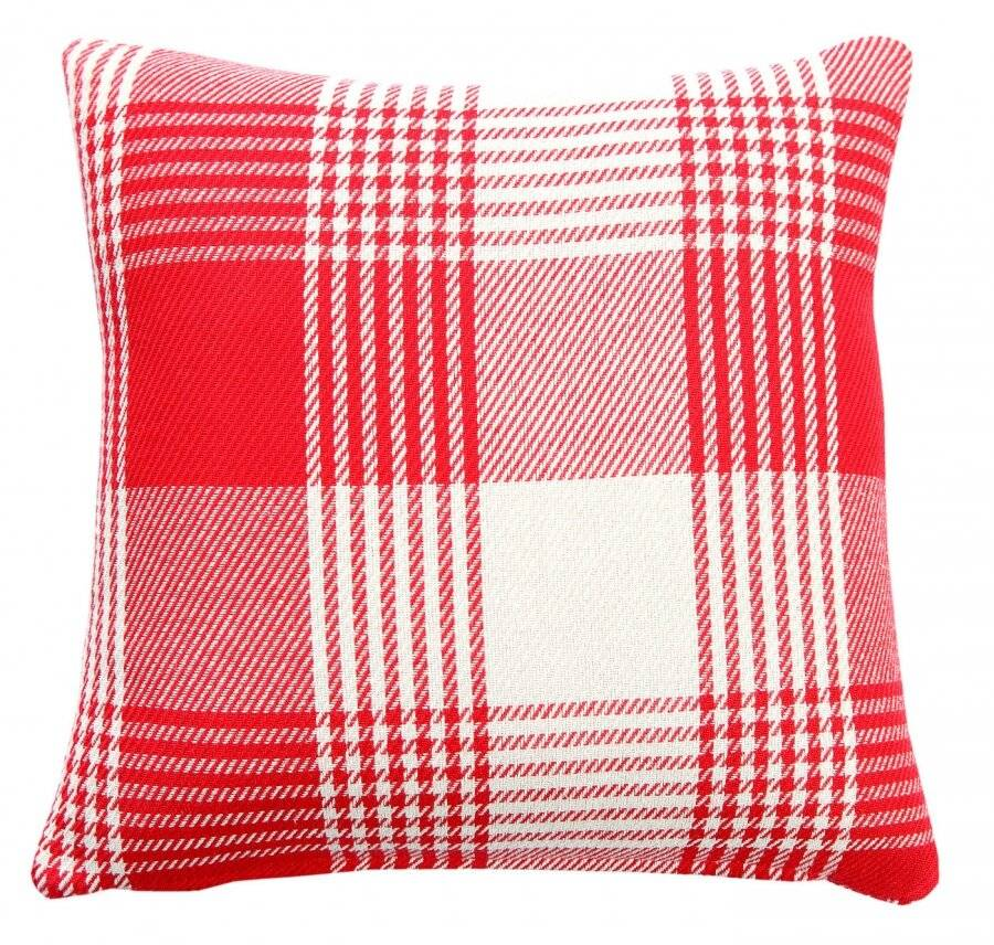 Premium Tartan Cotton Cushion Cover - Red (45 cm x 45 cm)