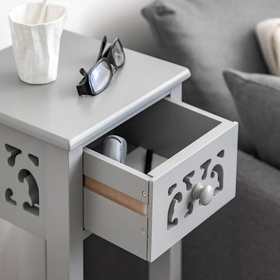 Provence Fretwork French Inspired Hallway MDF Bedside Unit - Grey
