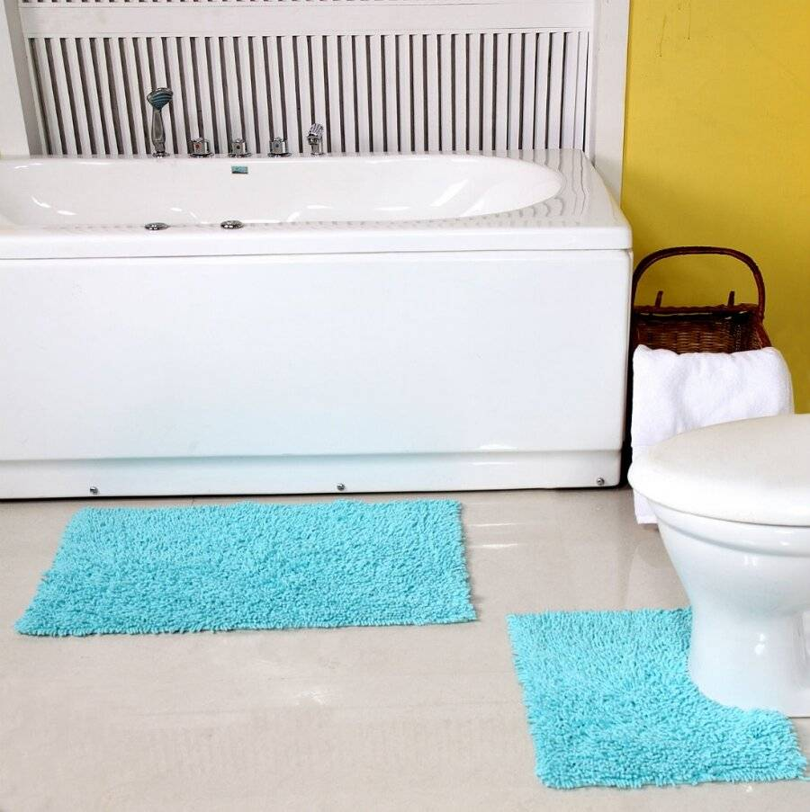 Anti-Slip Pure Cotton, Washable 2 PCs Bath Mat & Pedestal Set - Aqua