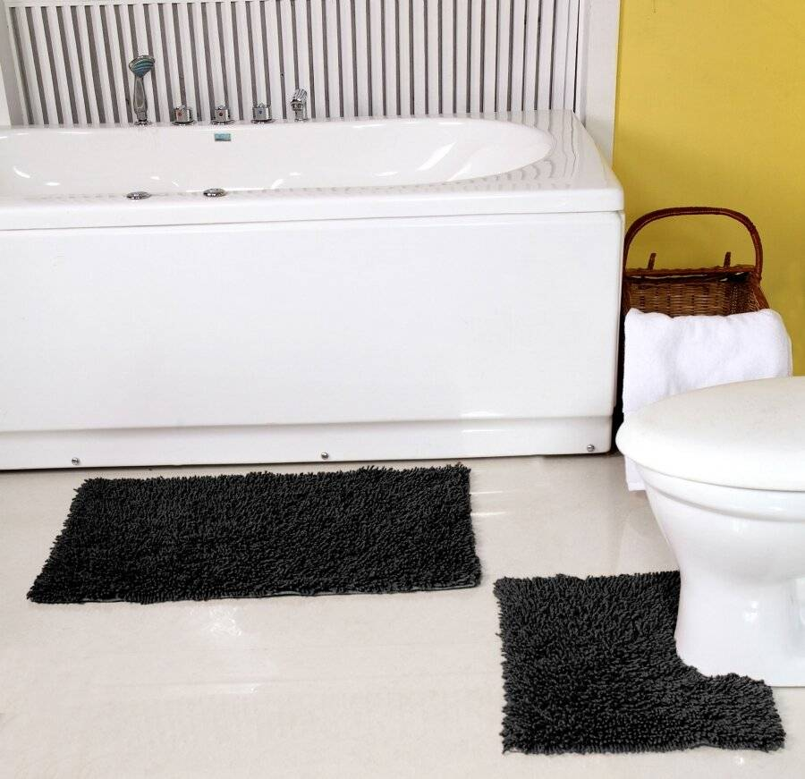 Pure Cotton,Washable 2 Piece Bathmat & Pedestal Anti-Slip Back Set-Black