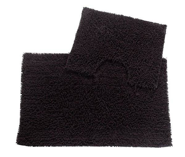 Anti-Slip Pure Cotton, Washable 2 PCs Bath Mat & Pedestal Set - Black