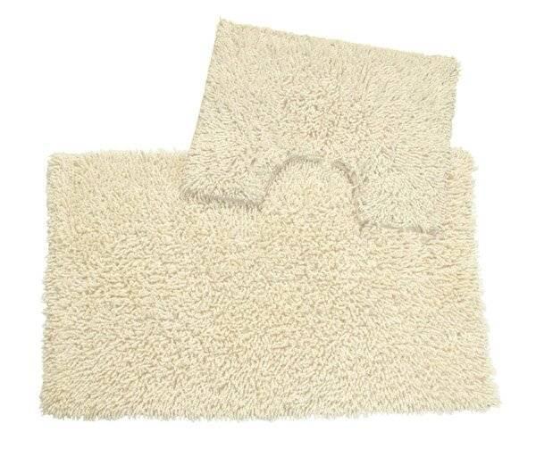 Anti-Slip Pure Cotton, Washable 2 PCs Bath Mat & Pedestal Set - Ivory