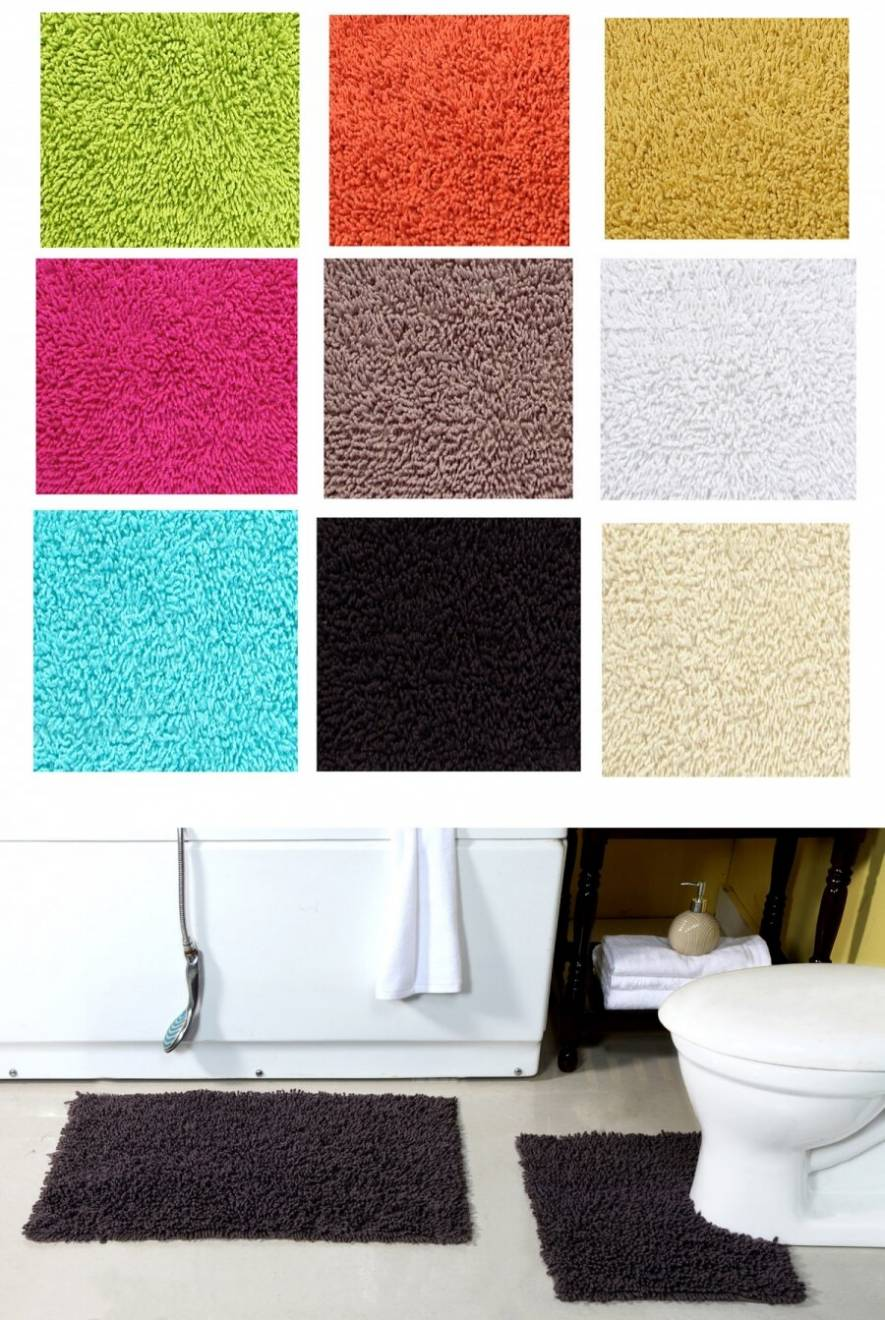 Pure Cotton, Washable 2 Piece Bath Mat and Pedestal Anti-Slip Back Set