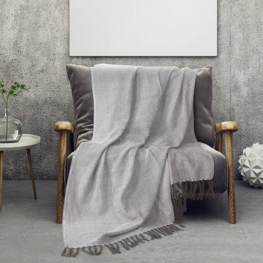 Pure Cotton Wave Sofa Armchair Single Bed Blanket Throw- Grey