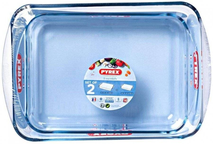 Pyrex Classic 2 Pcs Rectangular Glass Baking Roasting Bake Roaster Dish Set