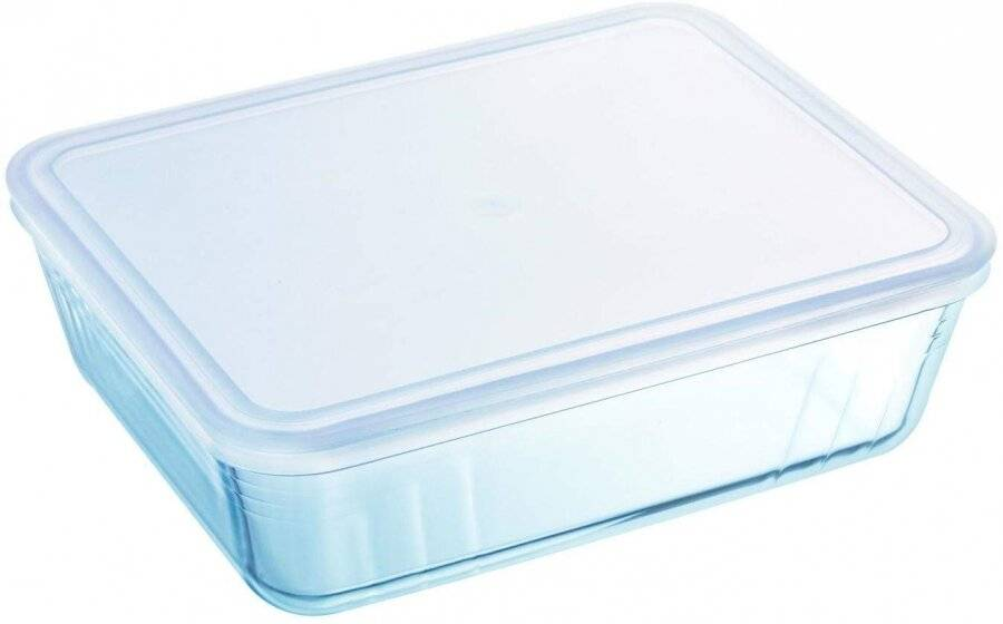 Pyrex Cook & Freeze Glass Rectangular Dish with Plastic Lid-22 x 17 x 6cm