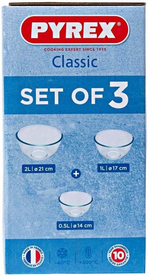 Pyrex High Resistance 3 Piece Glass Mixing Bowl Set,0.5L/1.0L /2.0L