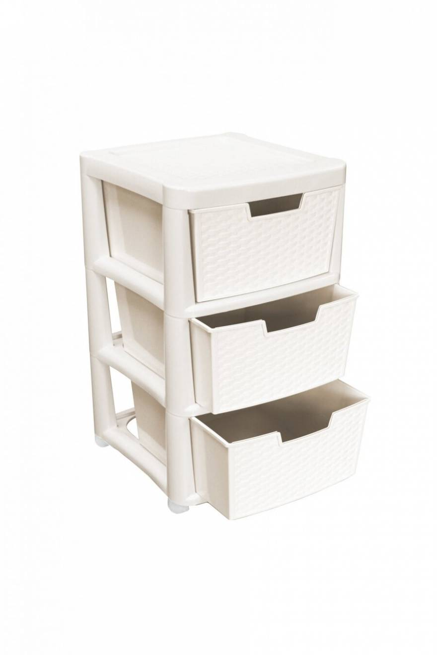 Rattan Style Large 3 Drawer Plastic Storage Unit - Cream