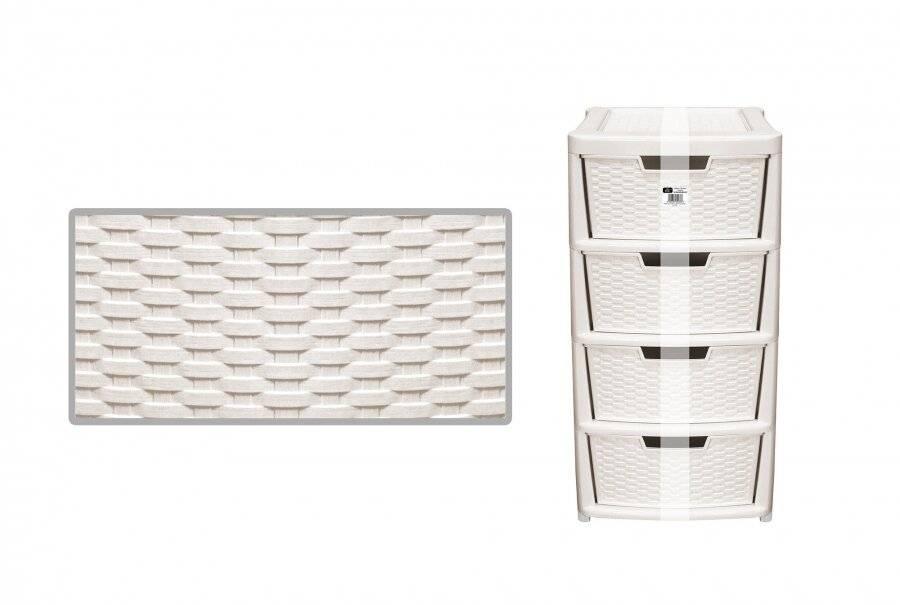 Rattan Style Large 4 Drawer Plastic Storage Unit - Cream