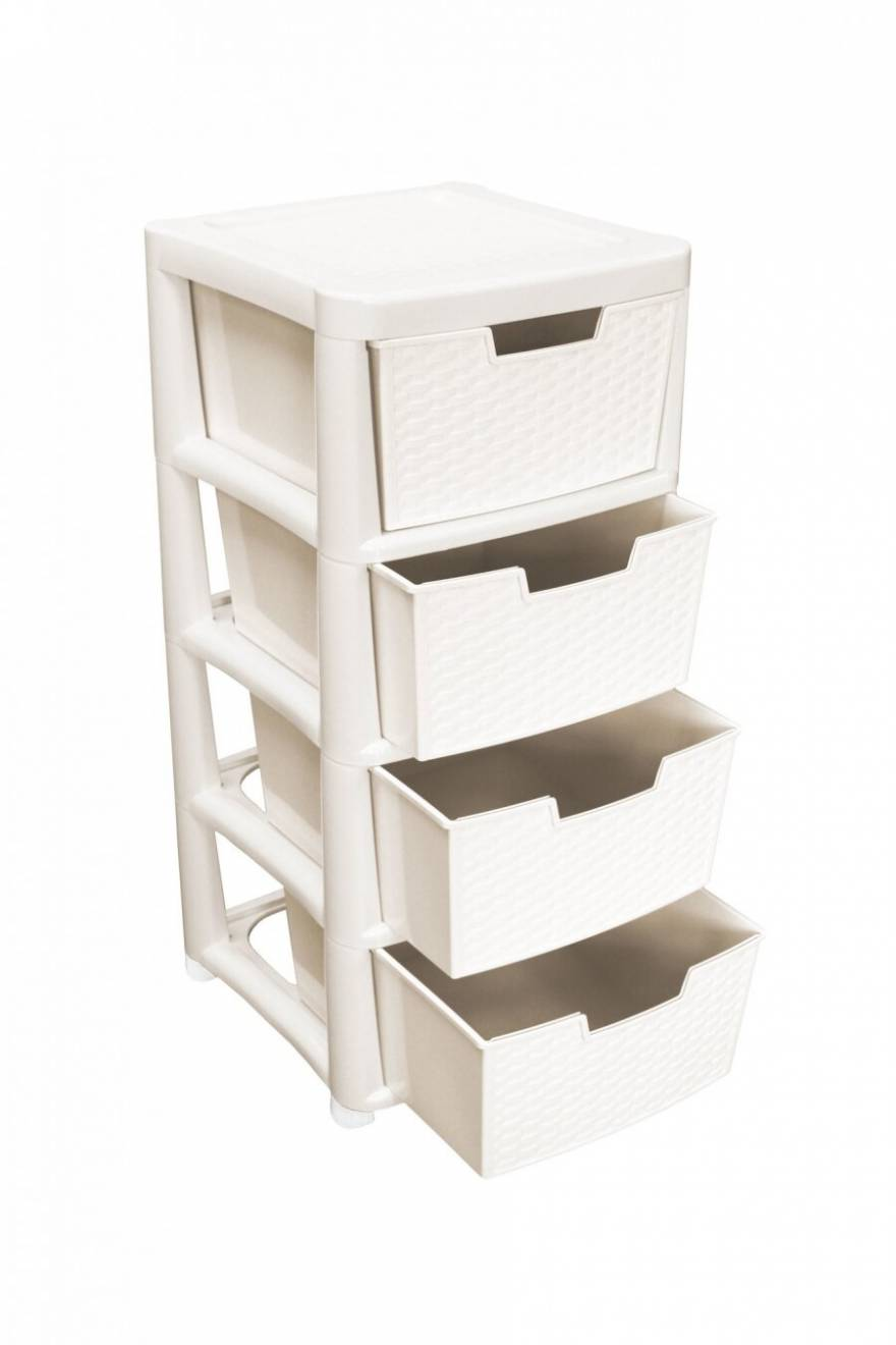 Rattan Style Large 4 Drawer Plastic Storage Unit - Cream