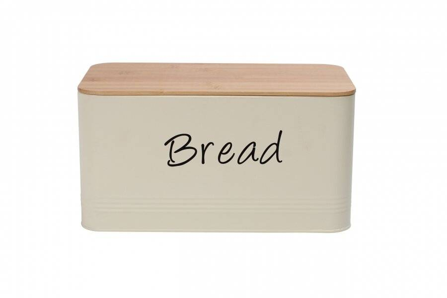 Rectangular Bread Storage bin Metal Bread Box With Wooden lid