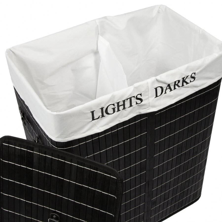 Rectangular Folding Bamboo 2 Compartment Laundry Basket - Black