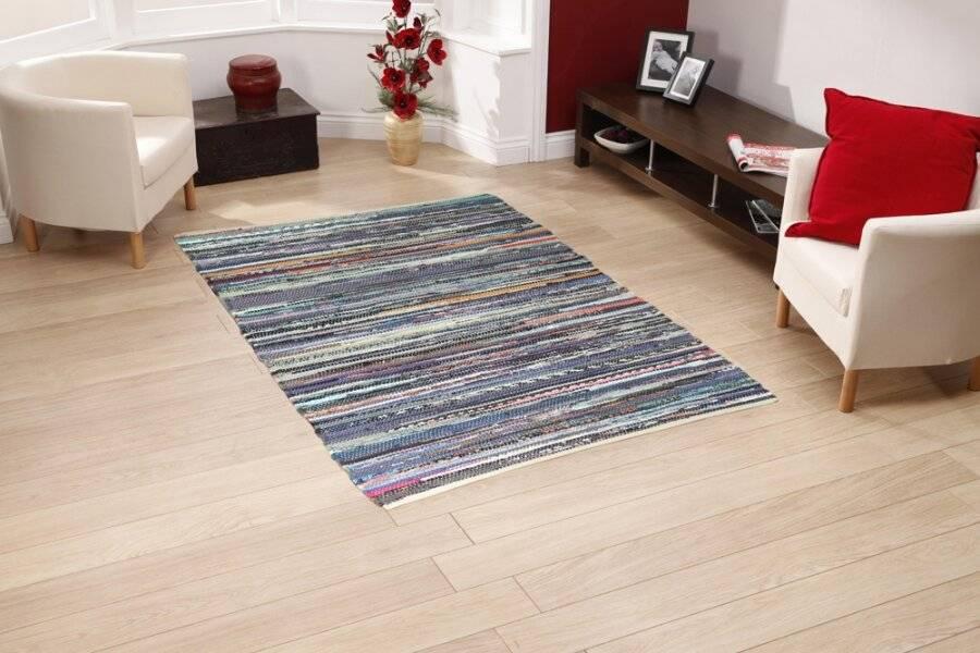 Recycled Cotton Handmade Multi Coloured Chindi Floor Rug -120 x 170 cm