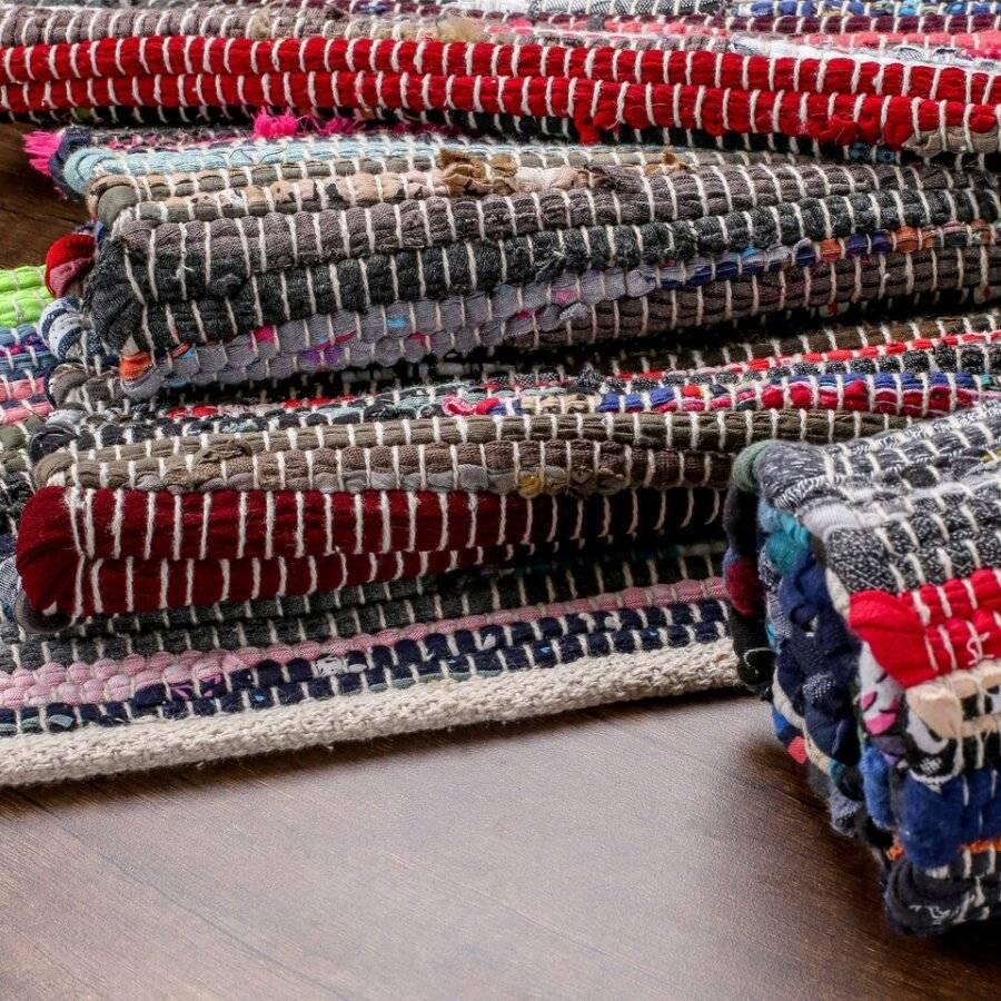 Recycled Cotton Handmade Multi Coloured Chindi Floor Rug - 60 x 90 cm