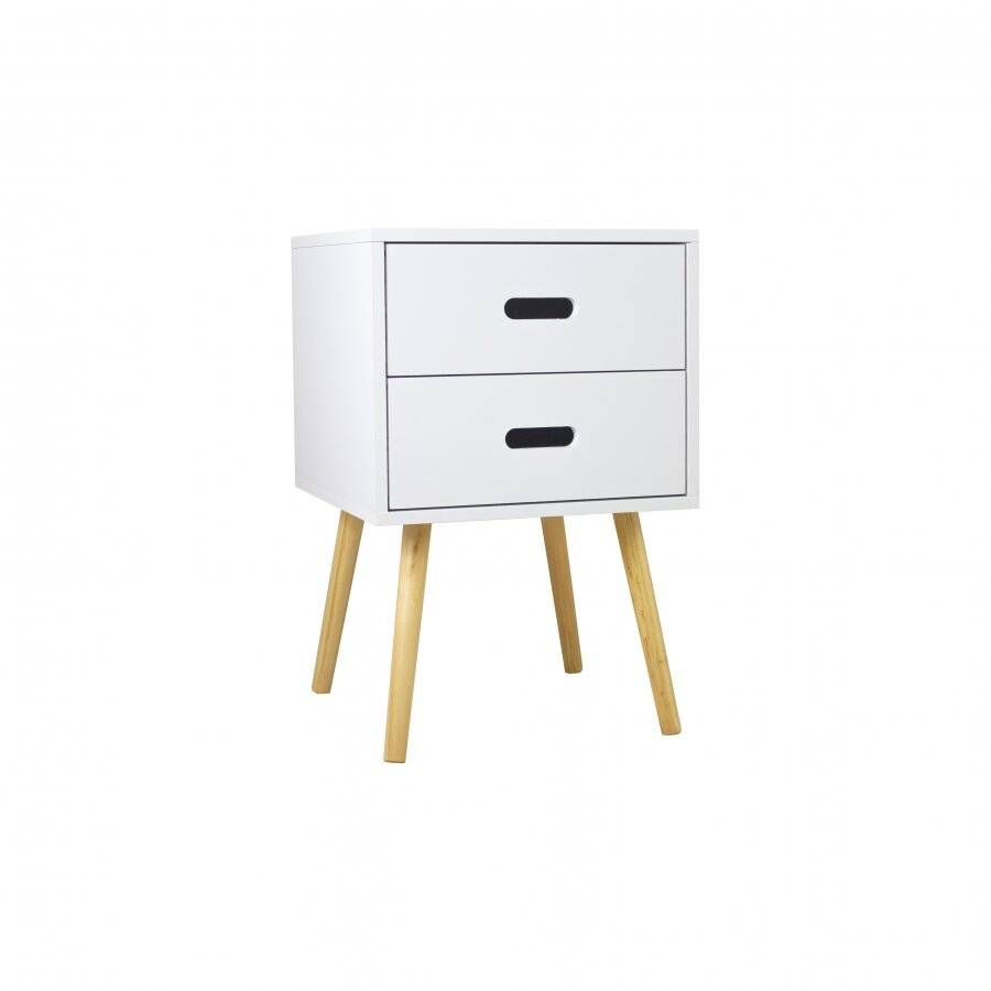 Retro Style MDF Bedside Storage Unit  With 2 Drawers - White
