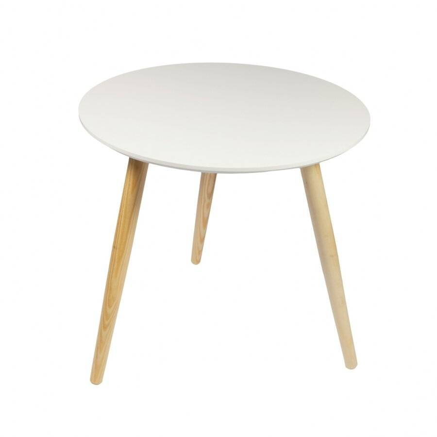 Retro Style Round Coffee Table  -MDF Table Top With Classic Wooden Legs