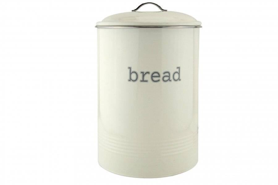 Round Black Enamel Bread Bin Crock Storage Canister Jar, Cream