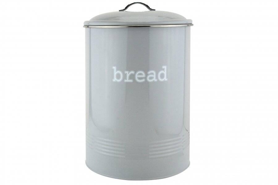 Round Black Enamel Bread bin Crock Storage Canister Jar, Grey