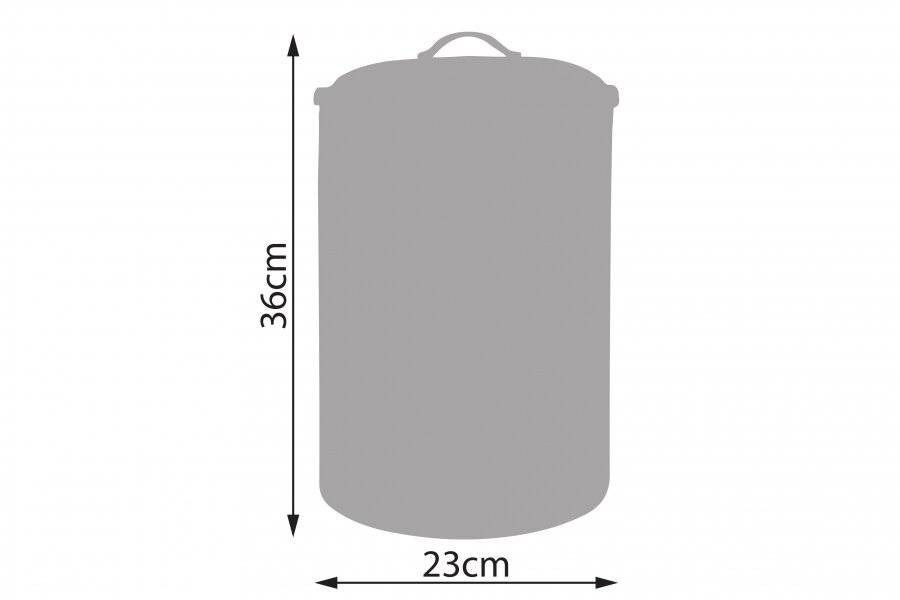 EHC Round Grey Enamel Bread Bin Storage Canister - Dia. 23 x (H) 36 cm