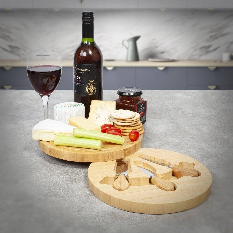 Round Cheese Board Set With Integrated Drawer & 3 Cheese Knives