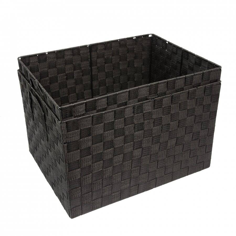 Set Of 2 Woven Large Strap Storage Basket With Carry Handles, Black