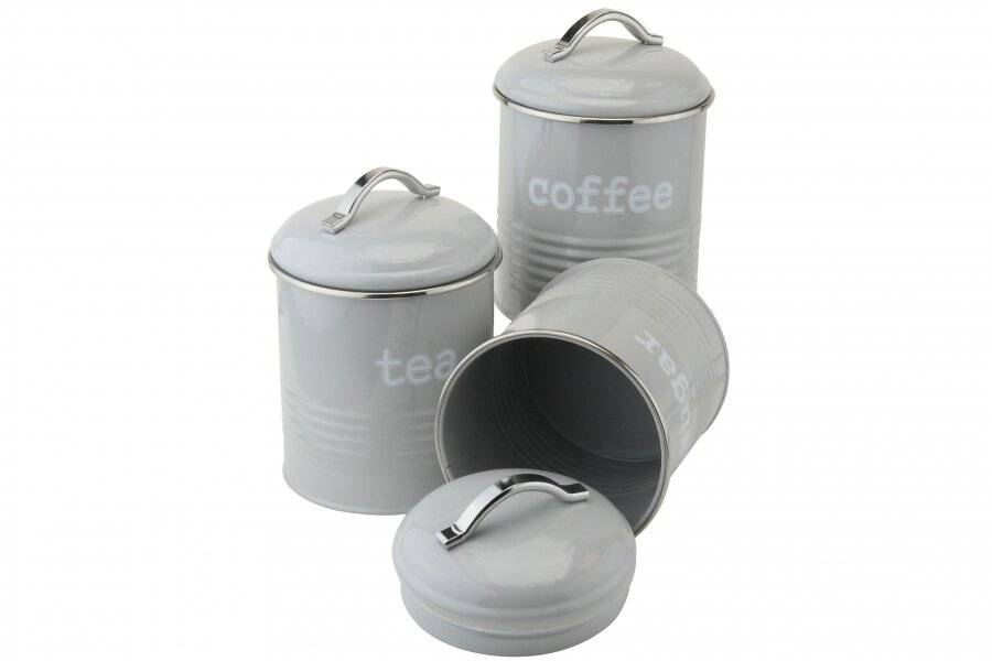 Set of 3 Airtight Round Tea, Sugar and Coffee Storage Canisters - Grey