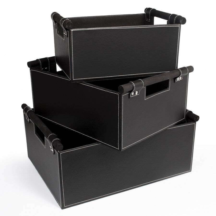 Set of 3 Faux Leather Shelf Baskets With Wooden Handles - Black