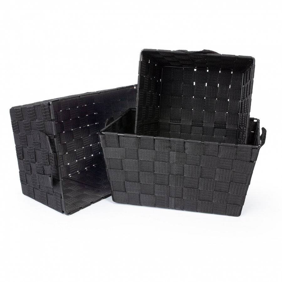 Set of 3 Rectangular Woven Storage Basket With Carry Handles, Black