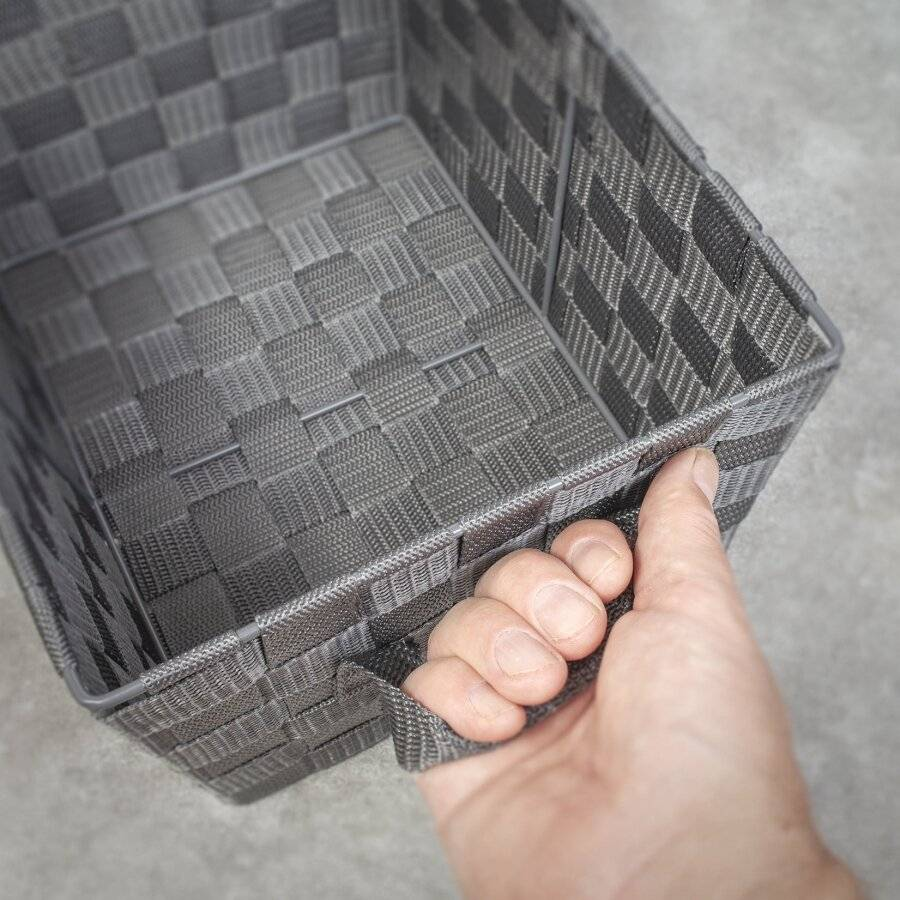 Set Of 3 Rectangular Woven Storage Basket With Carry Handles, Grey
