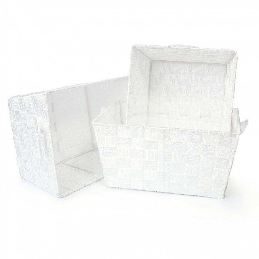 Set Of 3 Rectangular Woven Strap Storage Basket With Carry Handles, White