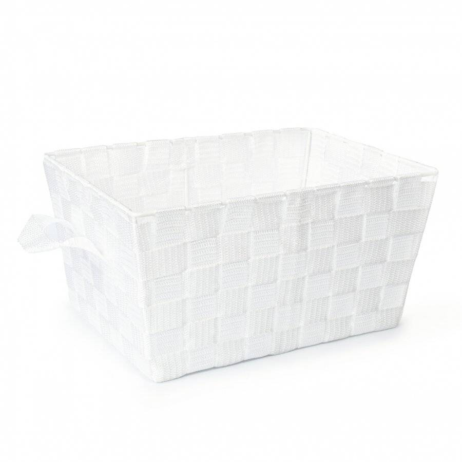 Set Of 3 Rectangular Woven Storage Basket With Carry Handles, White
