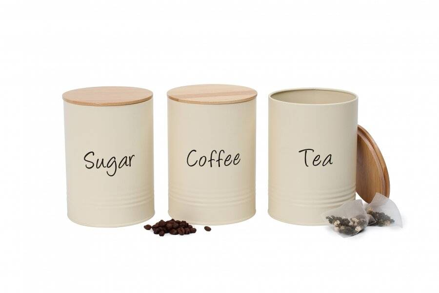 Set of 3 Robust Metal Tea,Coffee& Sugar Canister With Wooden Lid