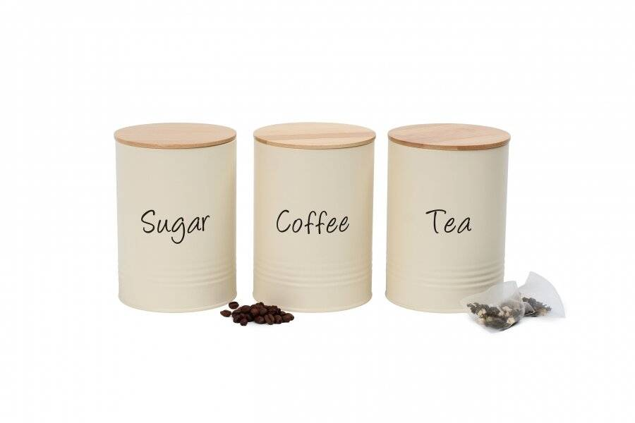 Set of 3 Robust Metal Tea, Coffee & Sugar Canister With Wooden Lid