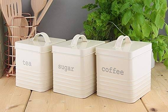 Set of 3 Square Tea, Sugar and Coffee Canisters - Cream