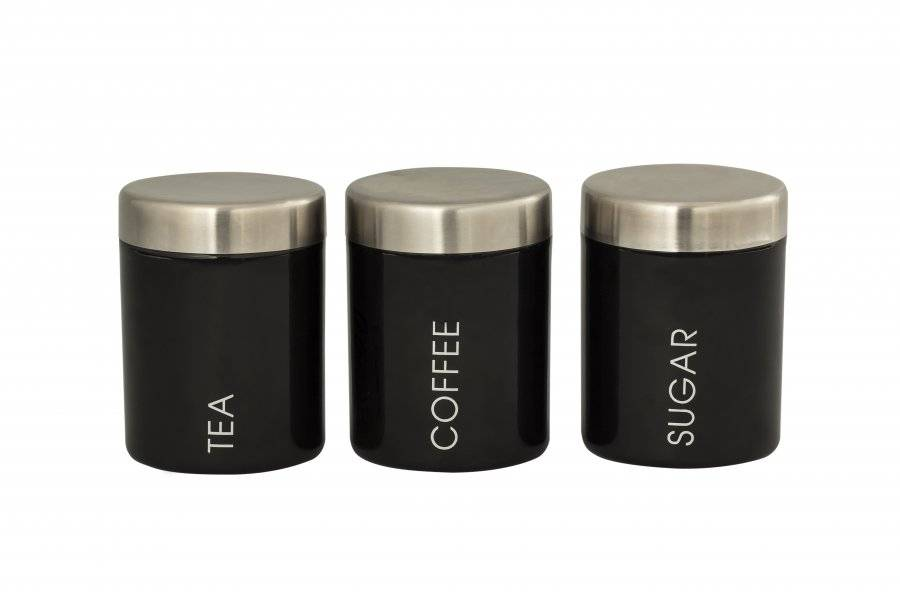 Set of 3 Stainless Steel Tea,Coffee& Sugar Canister-Black