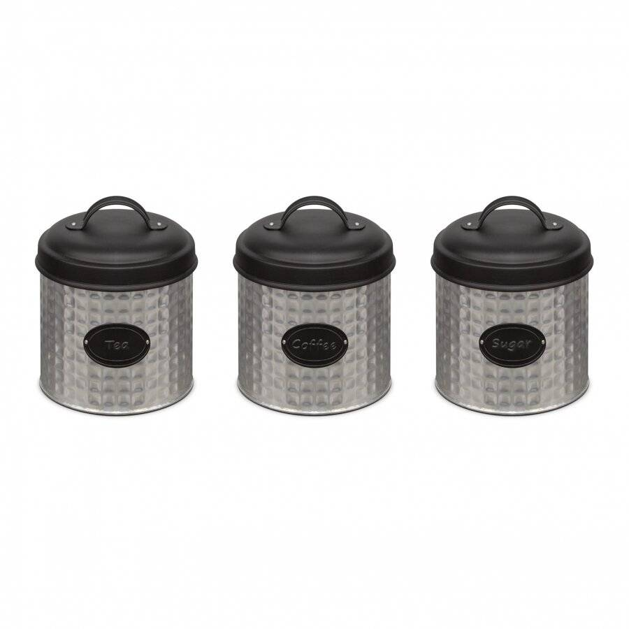 Set of 3 Stainless Steel Tea, Coffee & Sugar Canister - Silver