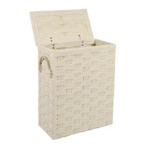Slimline Laundry Linen Basket With Lid & Faux Leather Handle, Cream